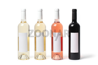 Bottles with Different Kinds of Wine