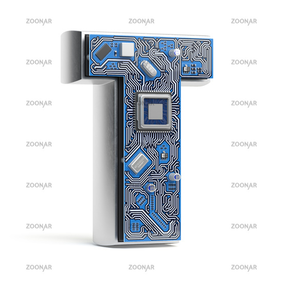 Letter T.  Alphabet in circuit board style. Digital hi-tech letter isolated on white.