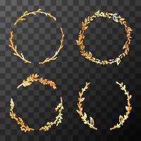 Set of cute golden detailed flower wreaths on transparent background