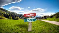 Street Sign to Reform versus Standstill