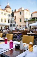 Open cafe in old town of Dubrovnik in Croatia
