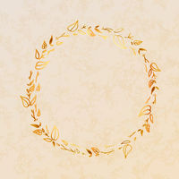 Golden detailed leaves wreath on beige paper