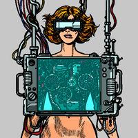 cyberpunk female robot wearing virtual reality glasses