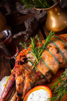 grilled lamb shoulder with rosemary braised in the oven