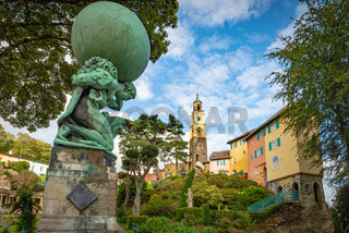 View on the Portmeirion village and an Hercules statue