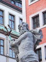 Skulptur des Neptunbrunnen in Görlitz, Sachsen, Deutschland
