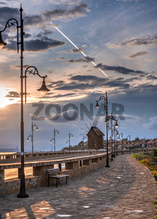 The road to the old town of Nessebar in Bulgaria