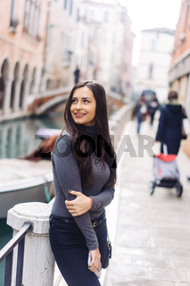 Portrait of girl with Canal view.