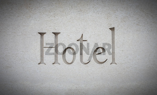 Luxury Hotel Sign Engraved In Stone