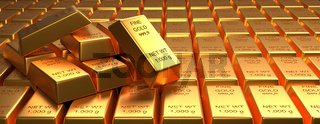 Stacked gold bars, financial concept, panoramic view