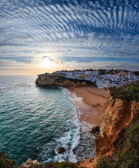 Evening sunset Atlantic coastline, Algarve, Portugal