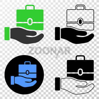 Hand Offer Case Vector EPS Icon with Contour Version