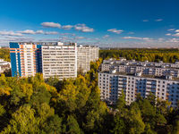 top view on ecologically clean area of Moscow with autumn forest. Russia