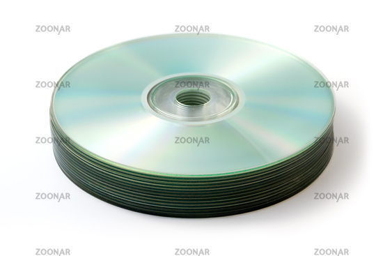 CD, DVD blank stack isolated on white
