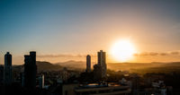 sunset sky above Panama City -  cityscape panorama view
