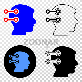 Brain Interface Links Vector EPS Icon with Contour Version