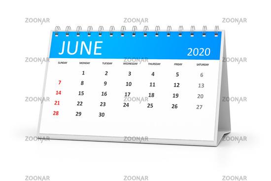 table calendar 2020 june