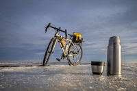 hot tea break during winter biking