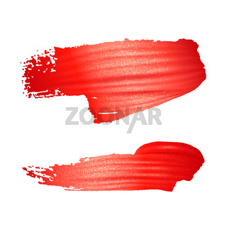 Brush stroke of red paint or lipstick set isolated on white background