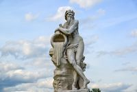 Allegory of god of river Scamander - sculpture in park Kuskovo of Moscow, beginning of XVIII century. Russia