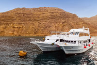 Landscape Sinai mountains Red Sea White yachts Egypt, Africa.