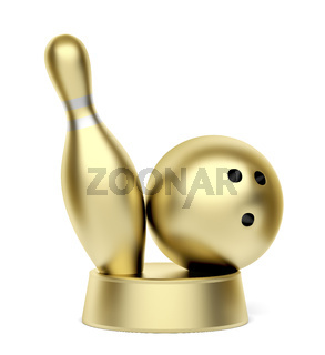 Gold bowling trophy