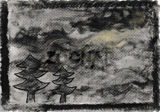 Von Hand gezeichnetes Aquarell, nächtliche Stimmung in Schwarz und Grau mit Bäumen und Mondschein