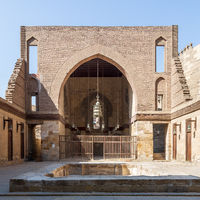 Main courtyard of public historic mosque of Sultan Al Nassir Qalawun, Cairo, Egypt