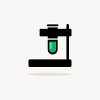 Test tube. Icon with shadow on a beige background. Pharmacy vector illustration