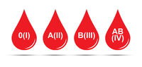 Set of icons. A drop of blood with a RH formula. Simple design.