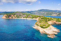 The beach Kokkinokastro of Alonissos from drone, Greece