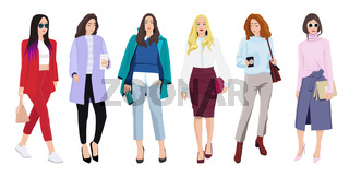Set of women dressed in stylish trendy clothes - casual office style