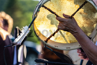 Sacred drums during spiritual singing.