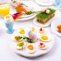 a colorful and festive Easter table decoration