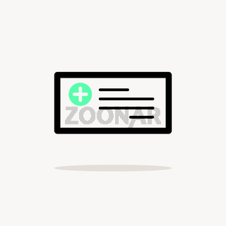 Prescription. Icon with shadow on a beige background. Pharmacy vector illustration