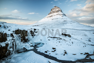 Kirkjufell mountain and waterfall at sunset, Iceland