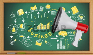 3d Blackboard with business sketch and megaphone.