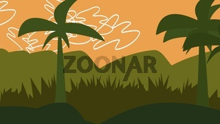Cartoon background with palms in mountain, abstract backdrop