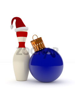Christmas bowling 3d concept on white