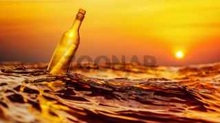 Message in a bottle sunset background