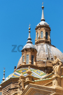 Detail of Basilica Cathedral of Our Lady of Pillar in Zaragoza, Aragon, Spain.