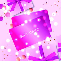 Poster with Gift cards, pink gift box and confetti, vector illustration. Concept for Valentines day.