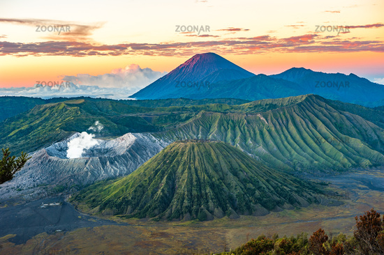 Bromo volcano at sunrise, Java Island, Indonesia