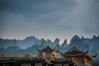 Rooftops of traditional chinese buildings in Wulingyuan