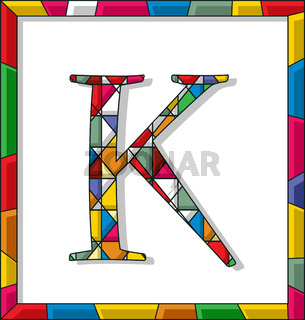 Letter K in stained glass