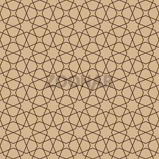 Seamless geometric ornament in brown colors lines.Arabic style.