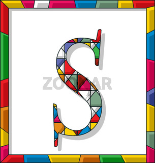 Letter S in stained glass