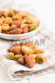Spicy flavoured nuts. Mix of nuts.