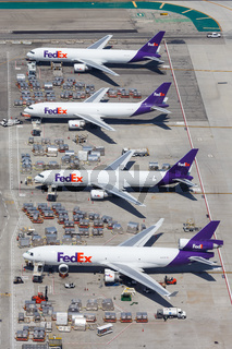 FedEx Express airplanes Los Angeles airport aerial view