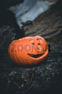 Halloween pumpkin's grin on natural isolated background